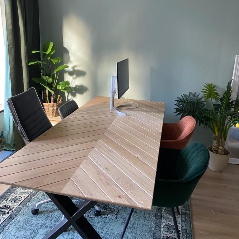 Vis graat tafel Massief eiken