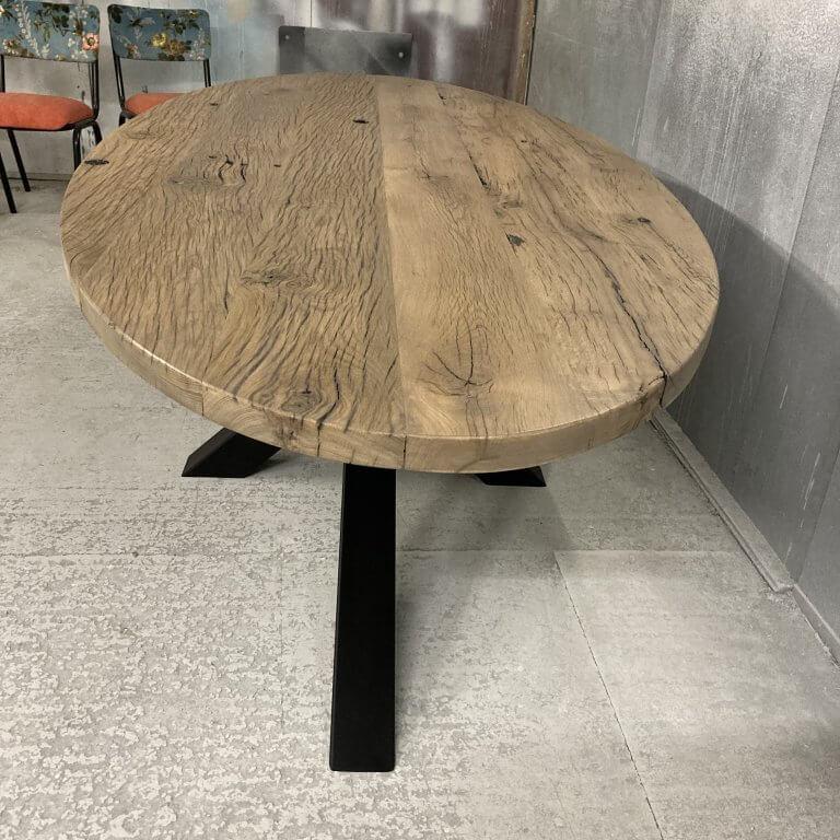 Wagon eiken planken tafel ovaal